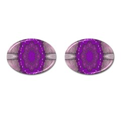 Fantasy Flowers In Harmony  In Lilac Cufflinks (oval)