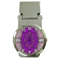 Fantasy Flowers In Harmony  In Lilac Money Clip Watches