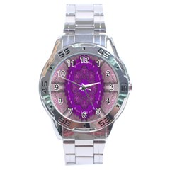 Fantasy Flowers In Harmony  In Lilac Stainless Steel Analogue Watch