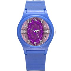 Fantasy Flowers In Harmony  In Lilac Round Plastic Sport Watch (s)