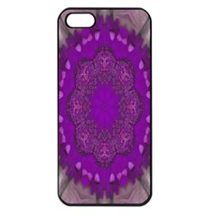 Fantasy Flowers In Harmony  In Lilac Apple Iphone 5 Seamless Case (black)