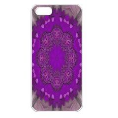 Fantasy Flowers In Harmony  In Lilac Apple Iphone 5 Seamless Case (white)