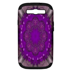 Fantasy Flowers In Harmony  In Lilac Samsung Galaxy S Iii Hardshell Case (pc+silicone)