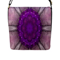 Fantasy Flowers In Harmony  In Lilac Flap Messenger Bag (l)