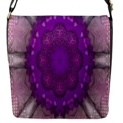 Fantasy Flowers In Harmony  In Lilac Flap Messenger Bag (s)