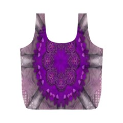 Fantasy Flowers In Harmony  In Lilac Full Print Recycle Bags (m)