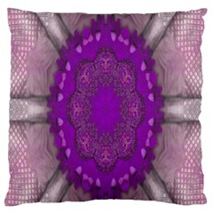 Fantasy Flowers In Harmony  In Lilac Large Flano Cushion Case (one Side)