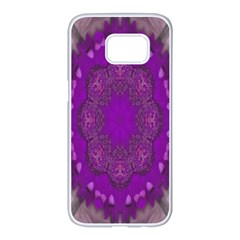 Fantasy Flowers In Harmony  In Lilac Samsung Galaxy S7 Edge White Seamless Case