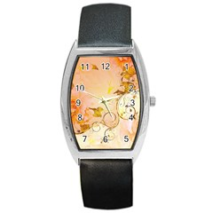 Wonderful Floral Design In Soft Colors Barrel Style Metal Watch
