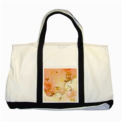 Wonderful Floral Design In Soft Colors Two Tone Tote Bag