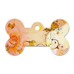 Wonderful Floral Design In Soft Colors Dog Tag Bone (two Sides)