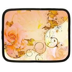 Wonderful Floral Design In Soft Colors Netbook Case (large)