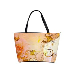 Wonderful Floral Design In Soft Colors Shoulder Handbags
