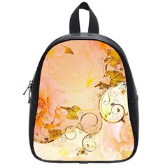 Wonderful Floral Design In Soft Colors School Bag (small)