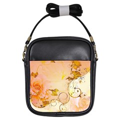 Wonderful Floral Design In Soft Colors Girls Sling Bags