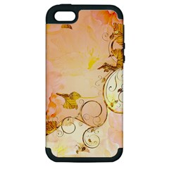 Wonderful Floral Design In Soft Colors Apple Iphone 5 Hardshell Case (pc+silicone)