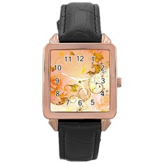 Wonderful Floral Design In Soft Colors Rose Gold Leather Watch
