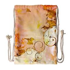 Wonderful Floral Design In Soft Colors Drawstring Bag (large)