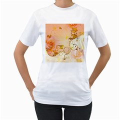 Wonderful Floral Design In Soft Colors Women s T Shirt (white) (two Sided)