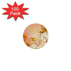 Wonderful Floral Design In Soft Colors 1  Mini Buttons (100 Pack)