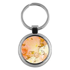 Wonderful Floral Design In Soft Colors Key Chains (round)