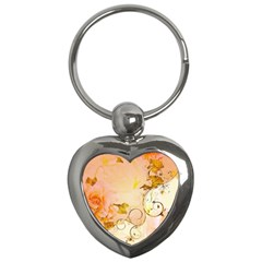 Wonderful Floral Design In Soft Colors Key Chains (heart)