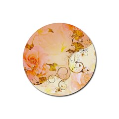 Wonderful Floral Design In Soft Colors Rubber Round Coaster (4 Pack)