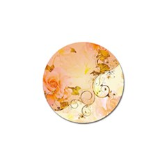 Wonderful Floral Design In Soft Colors Golf Ball Marker