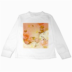 Wonderful Floral Design In Soft Colors Kids Long Sleeve T Shirts