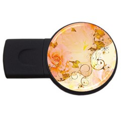 Wonderful Floral Design In Soft Colors Usb Flash Drive Round (4 Gb)