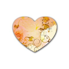 Wonderful Floral Design In Soft Colors Rubber Coaster (heart)