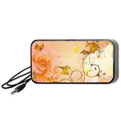 Wonderful Floral Design In Soft Colors Portable Speaker (black)