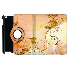 Wonderful Floral Design In Soft Colors Apple Ipad 2 Flip 360 Case