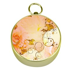 Wonderful Floral Design In Soft Colors Gold Compasses