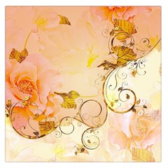Wonderful Floral Design In Soft Colors Large Satin Scarf (square)