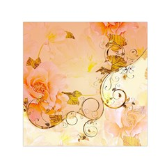 Wonderful Floral Design In Soft Colors Small Satin Scarf (square)
