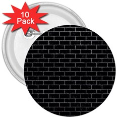 Brick1 Black Marble & Gray 3  Buttons (10 Pack)
