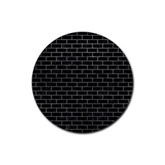 Brick1 Black Marble & Gray Rubber Coaster (round)