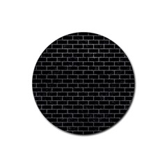 Brick1 Black Marble & Gray Rubber Round Coaster (4 Pack)