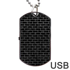 Brick1 Black Marble & Gray Dog Tag Usb Flash (one Side)
