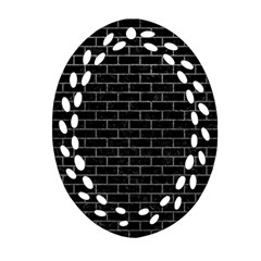 Brick1 Black Marble & Gray Oval Filigree Ornament (two Sides)
