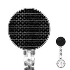 Brick1 Black Marble & Gray Stainless Steel Nurses Watch