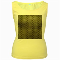 Brick1 Black Marble & Gray Leather (r) Women s Yellow Tank Top