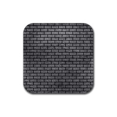 Brick1 Black Marble & Gray Leather (r) Rubber Square Coaster (4 Pack)