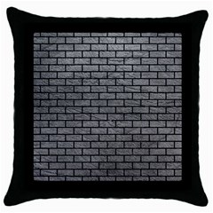 Brick1 Black Marble & Gray Leather (r) Throw Pillow Case (black)