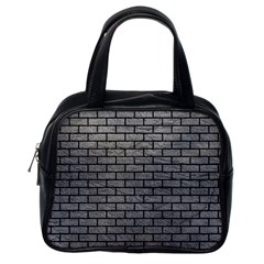 Brick1 Black Marble & Gray Leather (r) Classic Handbags (one Side)