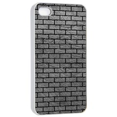 Brick1 Black Marble & Gray Leather (r) Apple Iphone 4/4s Seamless Case (white)