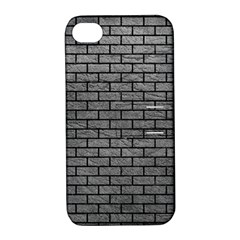 Brick1 Black Marble & Gray Leather (r) Apple Iphone 4/4s Hardshell Case With Stand