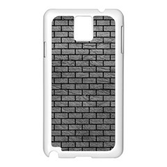 Brick1 Black Marble & Gray Leather (r) Samsung Galaxy Note 3 N9005 Case (white)