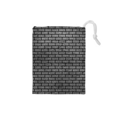 Brick1 Black Marble & Gray Leather (r) Drawstring Pouches (small)